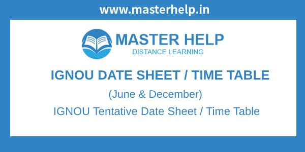 IGNOU Date Sheet -Time Table