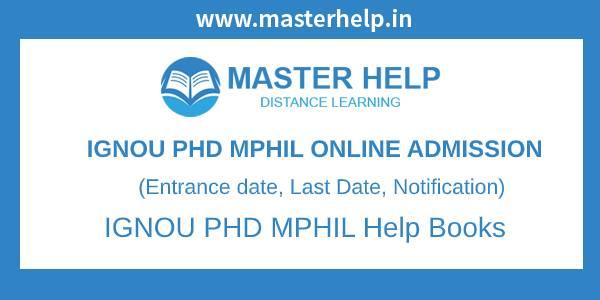 IGNOU PHD-MPHIL Online Admission