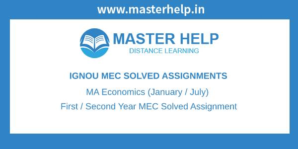 Ignou MA Economics Solved Assignment
