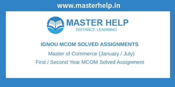 Ignou MCOM Solved Assignment