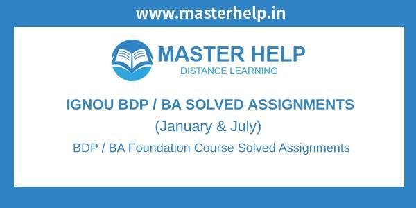 Ignou BDP / BA Foundation Course