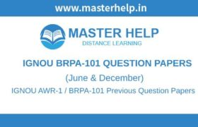 IGNOU BRPA-101 Question Papers
