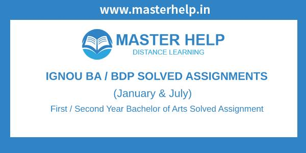 Ignou BDP Solved Assignments