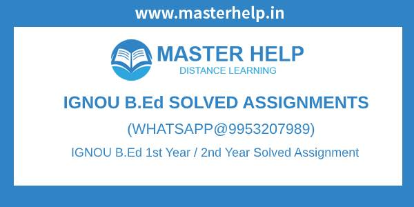 Free IGNOU B.Ed Solved Assignment