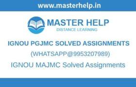 IGNOU PGJMC Assignments
