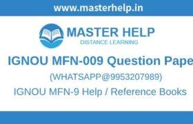 IGNOU MFN-9 Question Paper